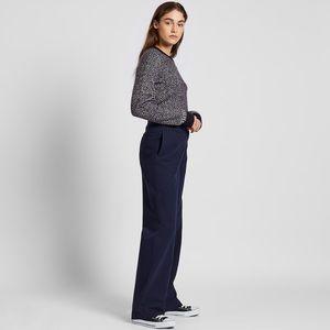 Ines De La Fressange Navy Cotton Twill Wide Pants